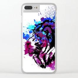 Purple Lion Spirit Clear iPhone Case