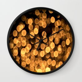 Golden Bokeh Light On A Black Background #decor #society6 Wall Clock