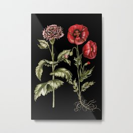 Carnation & Poppy on Charcoal Metal Print