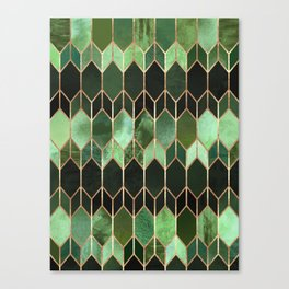 Stained Glass 5 - Forest Green Canvas Print