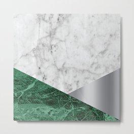 White Marble Green Granite & Silver #999 Metal Print