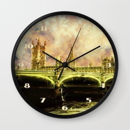 Abstract Golden Westminster Bridge in London Wall Clock