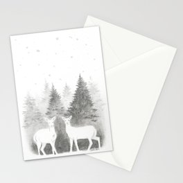Albino Deer and Pine Forest with Stars Stationery Cards