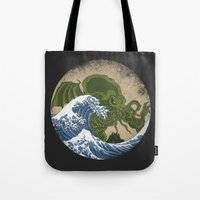 hokusai Tote Bags featuring Hokusai Cthulhu by Marco Mottura - Mdk7