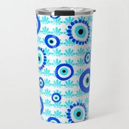 Evil Eye Charms Blue and White Pattern Travel Mug