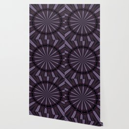 Eggplant and Pale Aubergine Abstract Floral Pattern Wallpaper