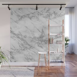 Elegant chic white gray silver glitter marble Wall Mural