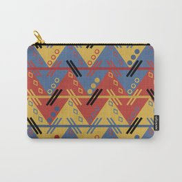 Red Blue Yellow Modern Abstract Aztec Pattern Carry-All Pouch