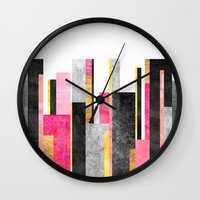 skyline Wall Clocks featuring Skyline by Elisabeth Fredriksson