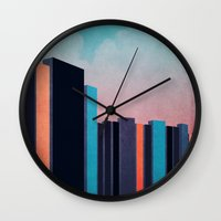 skyline Wall Clocks featuring Skyline by Liall Linz
