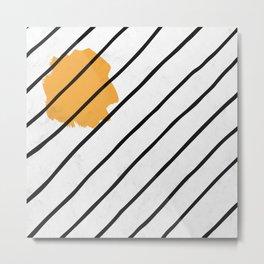 Sun Lines in Black Pattern Metal Print