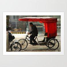 Red rickshaw Art Print