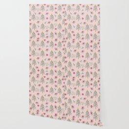 Christmas Pattern Pink Wallpaper