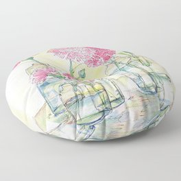 Pink Carnations, Still Life Floor Pillow