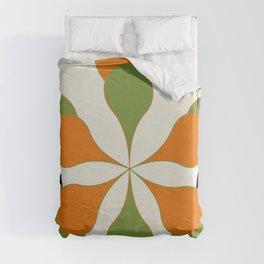 Mid-Century Modern Art 1.4 - Green & Orange Flower Duvet Cover