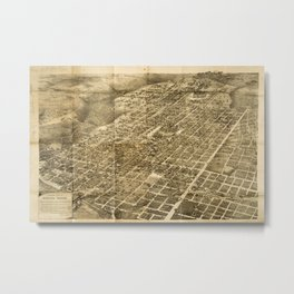 Vintage Pictorial Map of Austin Texas (1890) Metal Print