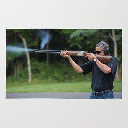 President Barack Obama Shoots Clay Targets at Camp David Rug