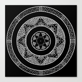 Flower Star Mandala - Black White Canvas Print