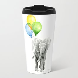 Elephant Watercolor Baby Animal with Balloons - Blue Yellow Green Travel Mug