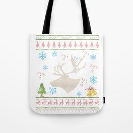 Mounted Caribou Head Caribou Hunting Christmas Ugly Holiday Shirt Tote Bag