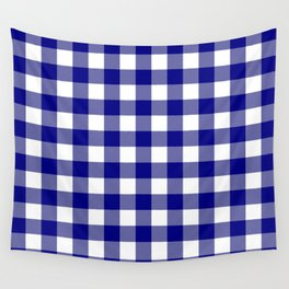 Gingham (Navy Blue/White) Wall Tapestry