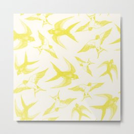 Swooping Swallows in Yellow Metal Print