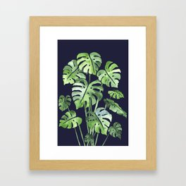 Delicate Monstera Blue #society6 Framed Art Print