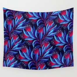 Pohutukawa - Red / Blue Wall Tapestry