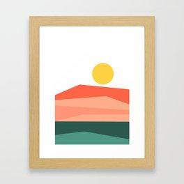 Abstract Landscape 09 Red Framed Art Print