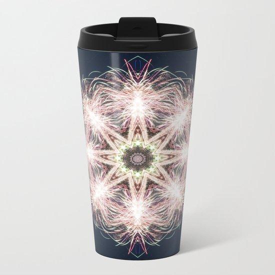 New year colorful sparkly fireworks mandala Metal Travel Mug