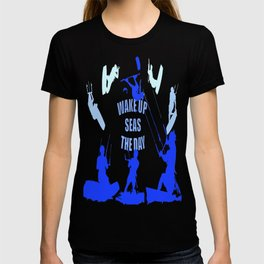 Wake Up Seas The Day Kiteboarder Royal Blue T-shirt