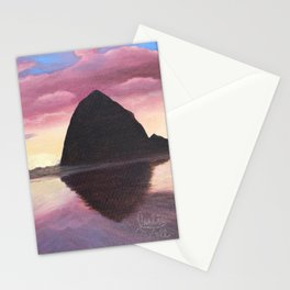 Pink Clouds at Haystack Rock Stationery Cards