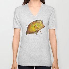 Festive Christmas Bird on a Berry Tree for Autumn and the Holidays Unisex V-Neck