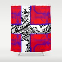 denmark Shower Curtains featuring circuit board Flag (Denmark) by seb mcnulty