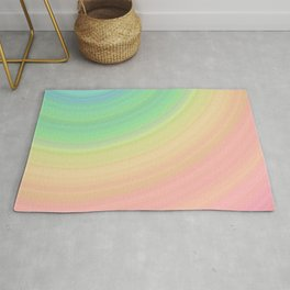 Abstract Pastel Rainbow I Cute abstract circles, gradient pattern Rug