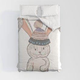 Pretty bunny in hat. Vector illustration Comforters