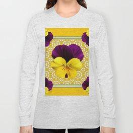 Golden Modern Art Deco Purple Pansy Pattern Art Long Sleeve T-shirt