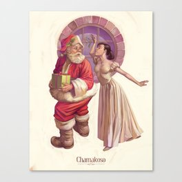 Kissing Santa Claus Canvas Print
