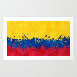 Colombia Flag - Messy Action Painting Art Print