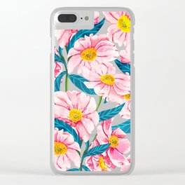 Pink Floral || Clear iPhone Case