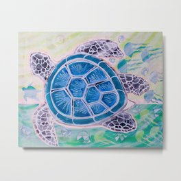 Sea Turtle Geodes Metal Print