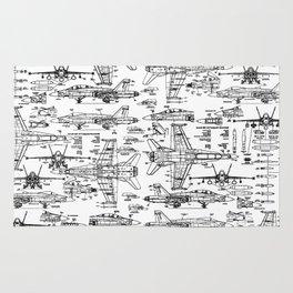 F-18 Blueprints Rug