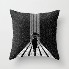 Winter's Long Road Throw Pillow