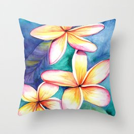 Blooming Plumeria 5 Throw Pillow
