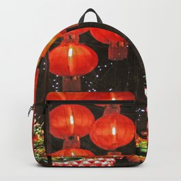 Red Chinese lanterns at night Backpack