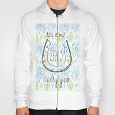 2013 - My Lucky Year Print, hand lettered horse-shoe Hoody