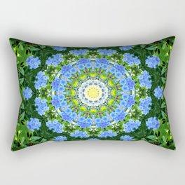 Beautiful floral garden blue green mandala design Rectangular Pillow