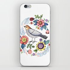 Romantic singing bird with flowers iPhone & iPod Skin