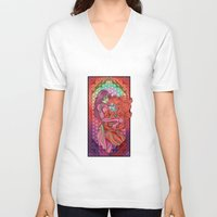 evangelion V-neck T-shirts featuring Evangelion - Mari and Asuka  by Morgane Grosdidier de Matons