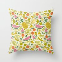 fruit Throw Pillows featuring Fruit Mix by Anna Deegan